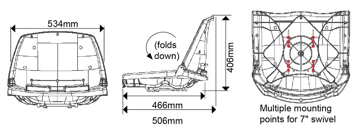 Fisherman Boat Seats Dimensions