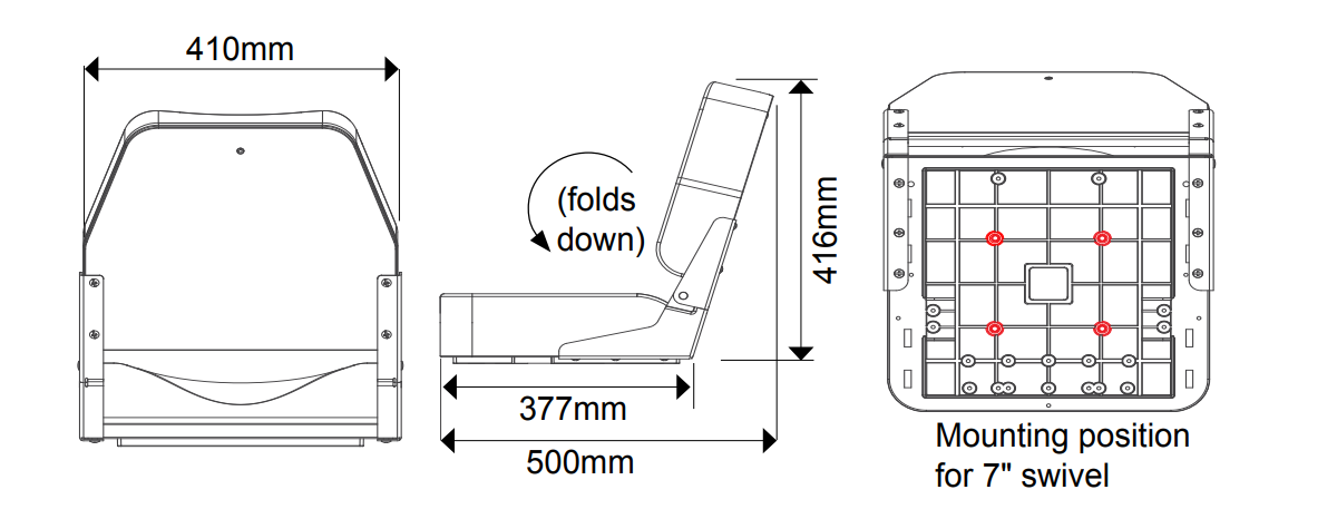 Deluxe Folding Boat Seat Dimensions
