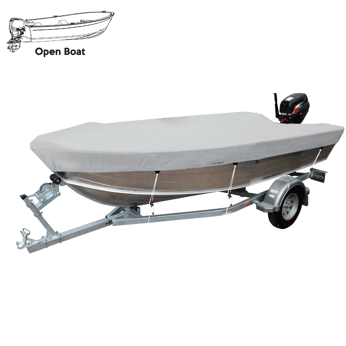 Open Boat Cover Grey