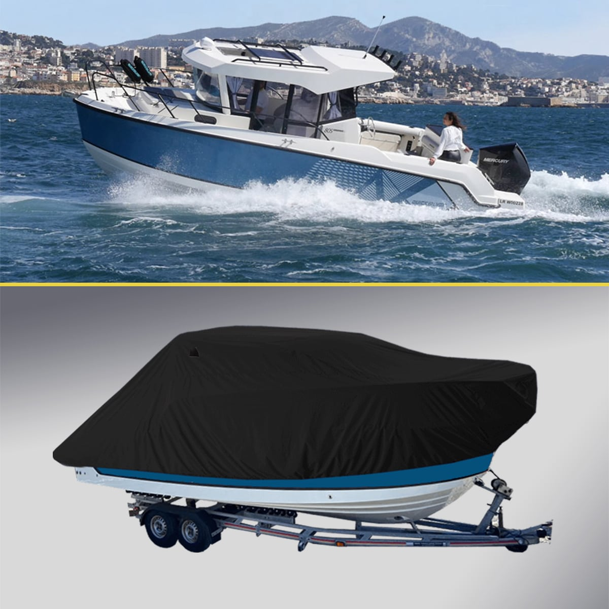 Boat Cover for Quicksilver 805 Pilothouse Black