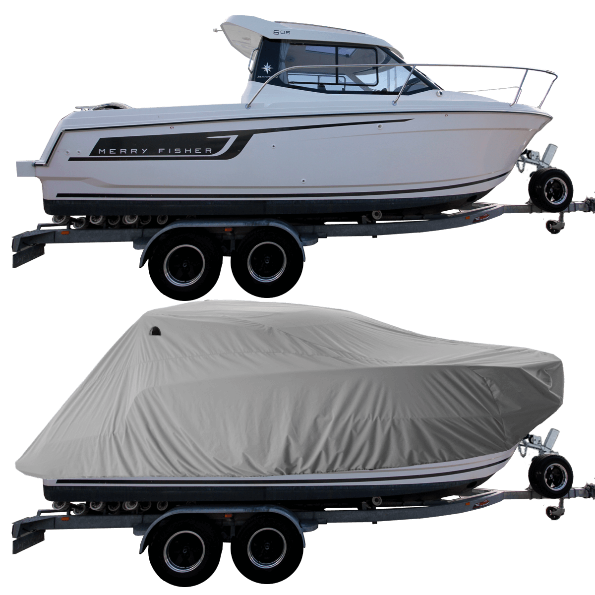 Boat Cover Grey for Merry Fisher Marlin 795 Pilot Boat