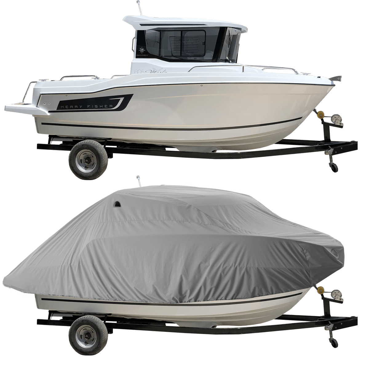 Boat Cover Grey for Merry Fisher Marlin 605 Pilot Boat