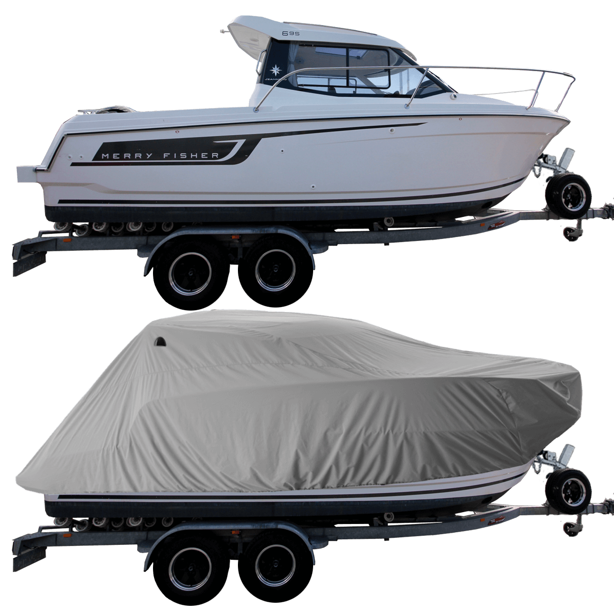 Boat Cover Grey for Merry Fisher Jeanneau 695 Pilot Boat