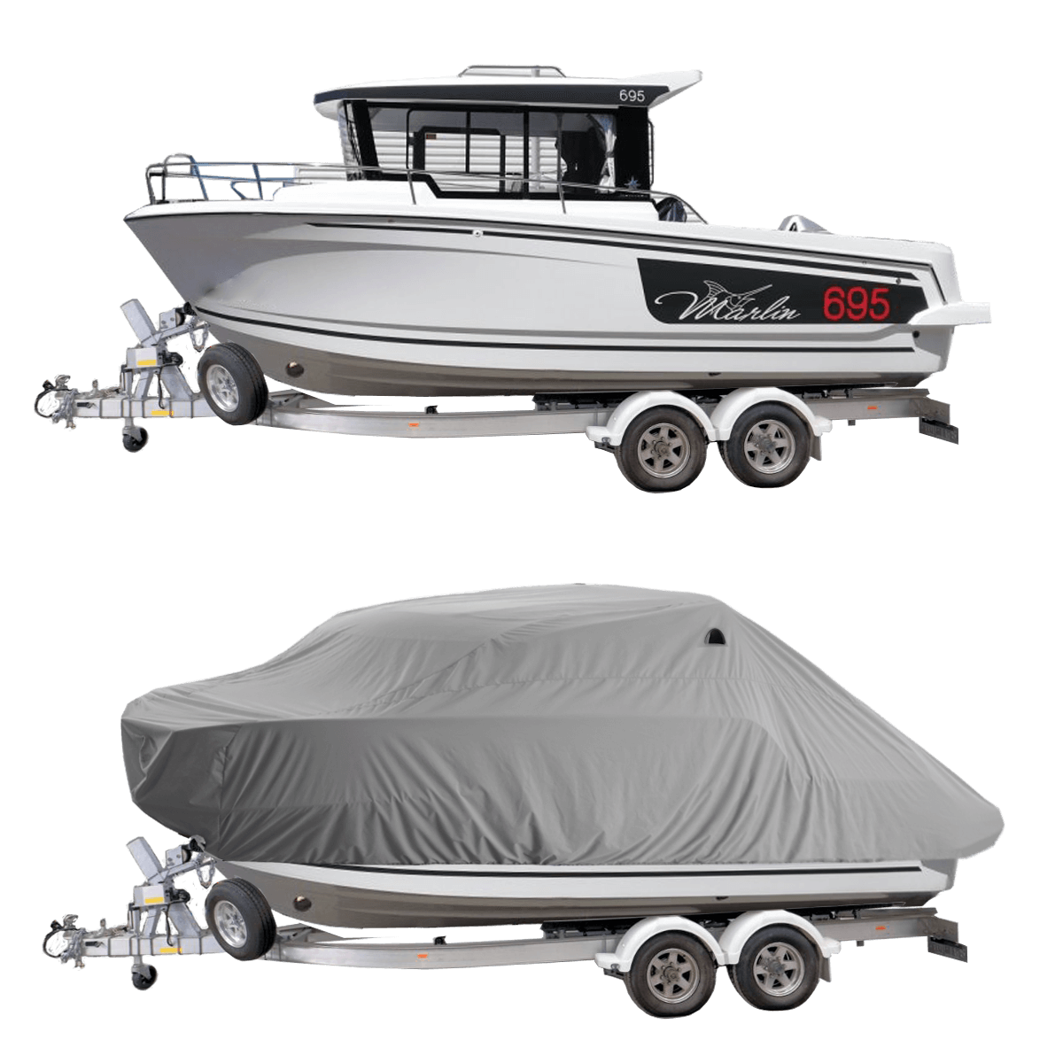 Boat Cover Grey for Merry Fisher Marlin 695 Pilot Boat