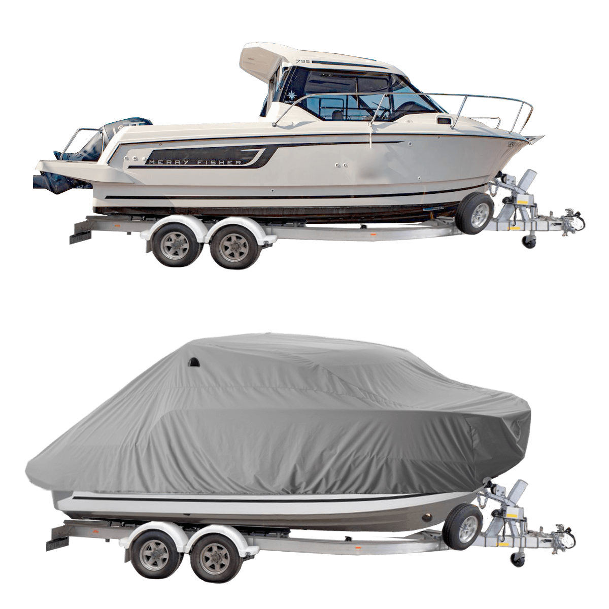 Boat Cover Grey for Merry Fisher Jeanneau 795 Pilot Boat