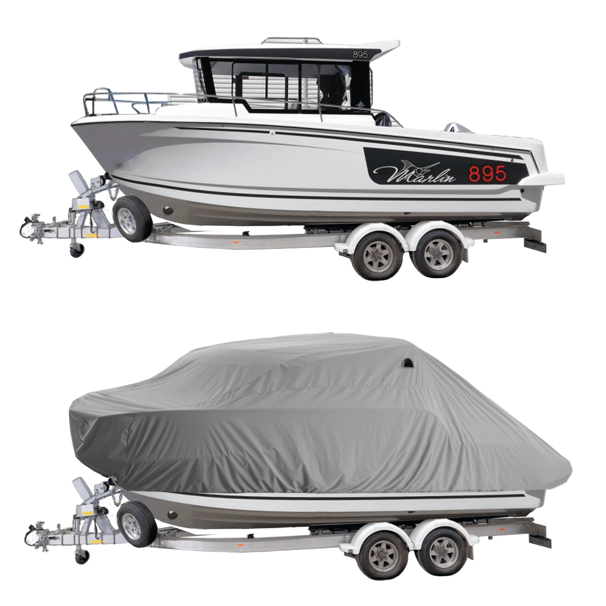 Boat Cover Grey for Merry Fisher Marlin 895 Pilot Boat