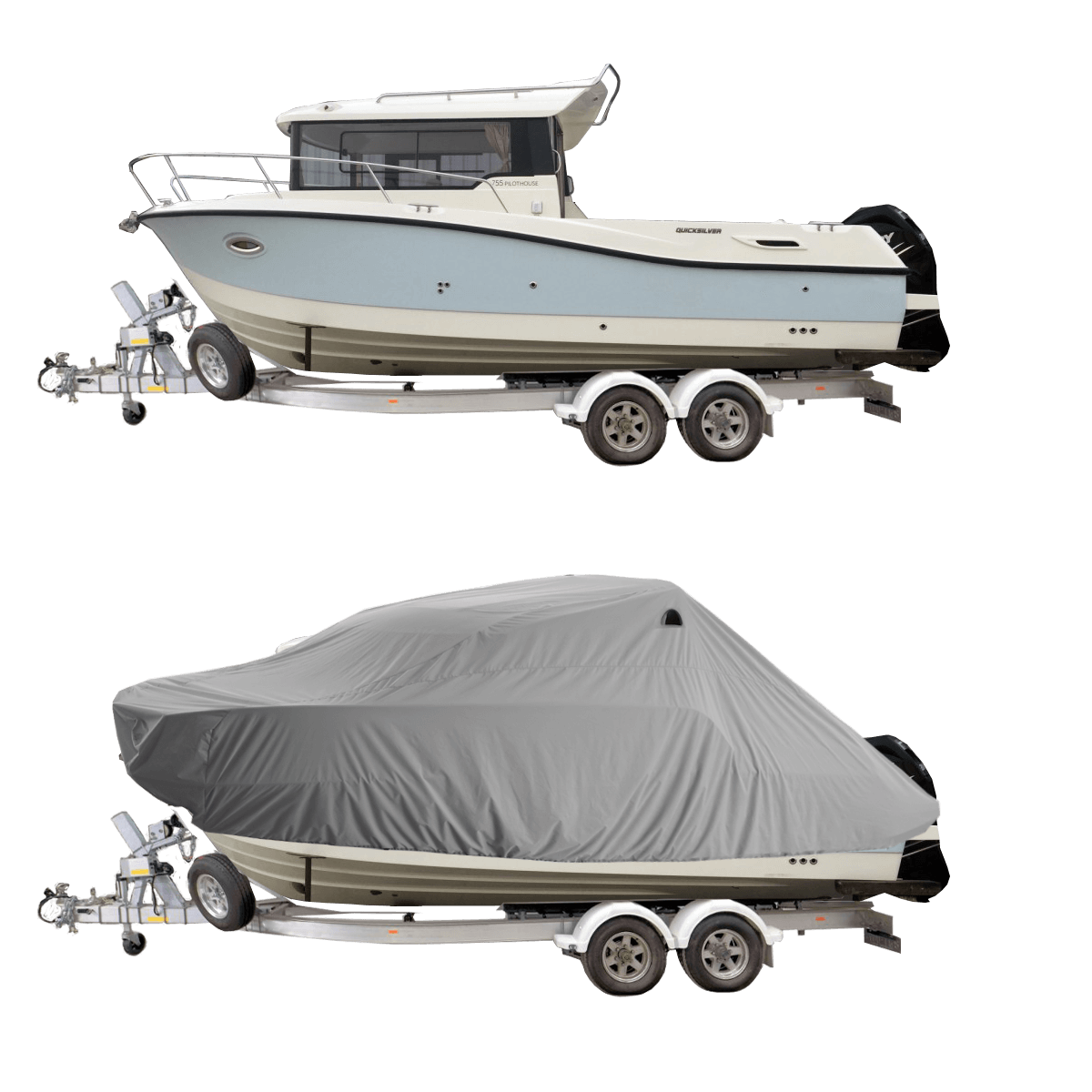 Boat Cover Grey for Quick Silver 675 Pilot Boat