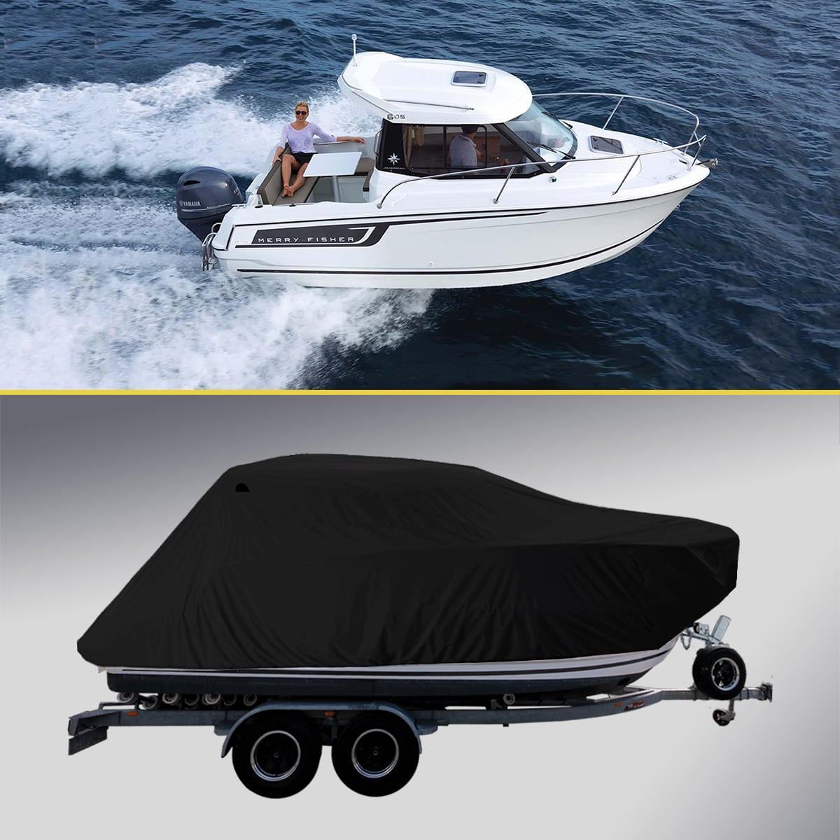 Boat Cover for Jeanneau Merry Fisher Marlin Black