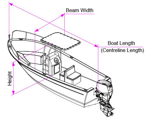 T-Top Boat Cover Measurement Diagram